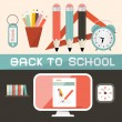 Back to School Vector Illustration in Retro Flat Design Style — Stock Vector #63791159