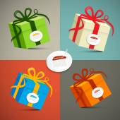 Vector Paper Retro 3d Gift Boxes Set Illustration — ストックベクタ