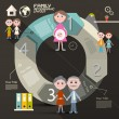 Circle Paper Retro UI Flat Design Infographics Template - Layout with Family Members — Vecteur #65724565