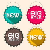 Retro Big Sale and New Title on Circle Paper  Labels with Strings — Stok Vektör