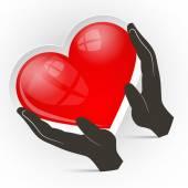 Сердце в руках векторные иллюстрации, изолированные на белом фоне — Cтоковый вектор