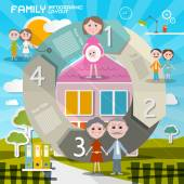 Circle Paper Retro UI Flat Design Infographics Template - Layout with Family Members and Summer House — Stock Vector