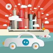Paper Cars in City - Town Abstract Flat Design Retro Vector Illustration — Vetor de Stock