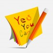 Yes You Can Slogan - Title on Papers with Pencil Vector Illustration — Vector de stock  #67485069