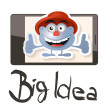 Big Idea Vector Illustration with Funky Man - Avatar on Cell Phone — Stock Vector #67485267
