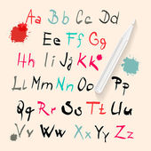 Funky Vector Hand Written Alphabet Set Isolated on Retro Paper Background — Vector de stock