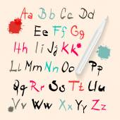 Funky Vector Hand Written Alphabet Set Isolated on Retro Paper Background — Vetor de Stock