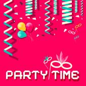 Retro Party Time Vector Flat Design Illustration with Confetti and Balloons on Pink Background — Stock Vector