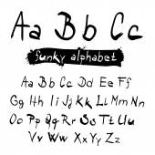 ABC - abc Funky Vector Black Hand Written Alphabet Set Isolated on White Background — Vetor de Stock