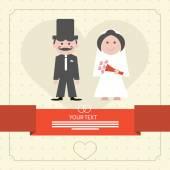 Retro Flat Design Wedding Card Vector Illustration — Stock Vector