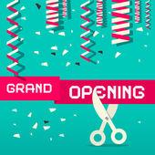 Retro Grand Opening Vector Illustration with Confetti and Scissors — Stock Vector