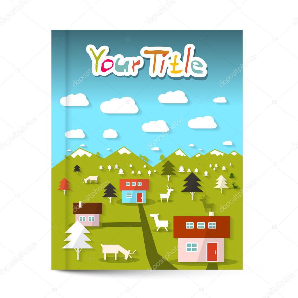 vector book or flyer leaflet cover design landscape on vector book or flyer leaflet cover design landscape on title page stock vector