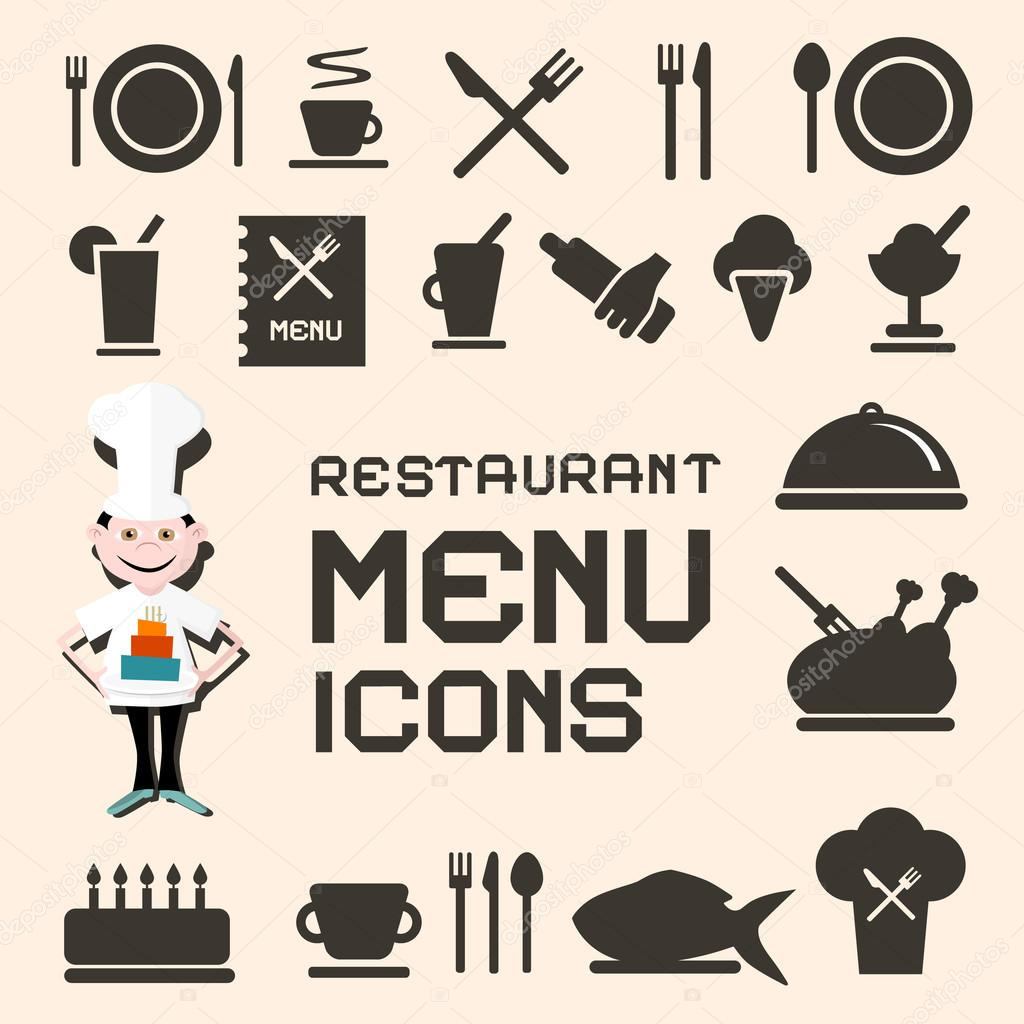 Flat design vector restaurant menu icons set — stock