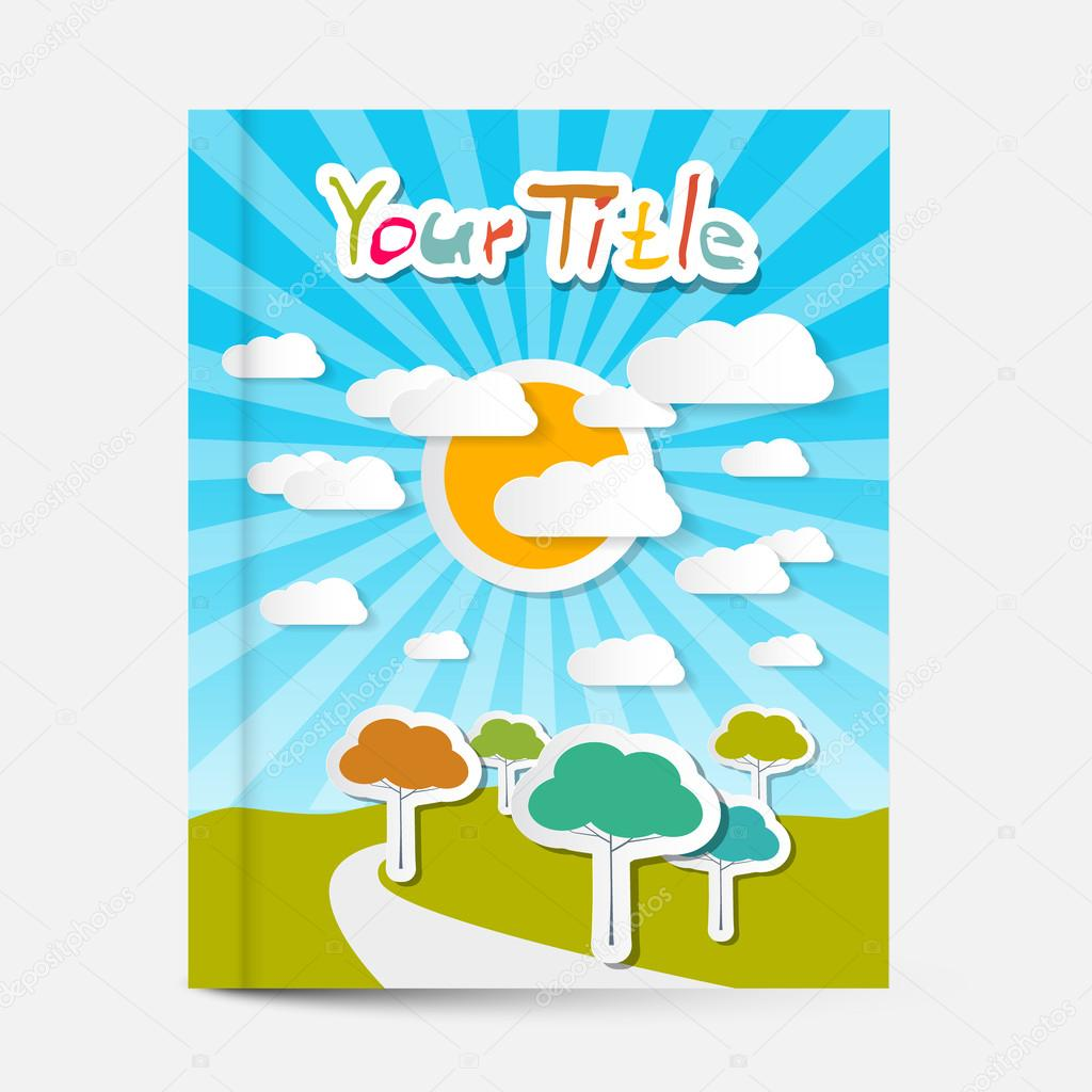 vector book or flyer leaflet cover design landscape on vector book or flyer leaflet cover design landscape on title page stock vector