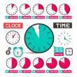 Clock - Time Vector Icons Set Isolated on White Background — Stock Vector #70209911