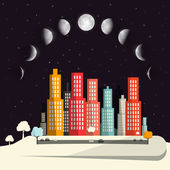 Moon Phases above Night City Flat Design Abstract Vector Illustration — Stock Vector