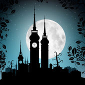 Full Moon Vector Illustration with Town Silhouette - Houses and Towers Cityscape — Stock Vector