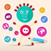 Creative Symbol Vector Man - Avatar with Circle Technology Icons — Stock Vector