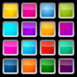 Colorful Vector Square Glass Buttons Set on Black Background — Stock Vector #70210081