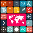 Zodiac - Horoscope Rounded Square Vector Icons Set and World Map on Dark Background — Stock Vector #70210591