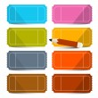 Colorful Vector Empty Tickets Set with Pencil Illustration Isolated on White Background — Stock Vector #70210685