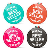 Best Seller Circle Medals Retro Vector Set Isolated on White Background — Stockvector