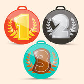 Vector First Second and Third Place Retro Medals Set — Stock Vector