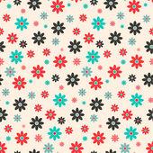 Seamless Vector Retro Flat Design Flowers Background — Vetor de Stock