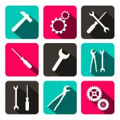 Vector Repair Technology Icons - Web Buttons with Cogs Gears, Screwdriver, Pincers, Spanner, Hand Wrench and Hammer Tools — Stock Vector
