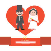 Red Retro Flat Design Wedding Card Vector Illustration with Groom and Bride in Heart on White Background — Stock Vector