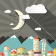 Vector Night Landscape Town or City in Flat Design Retro Style Illustration with Mountains and Moon — Stock Vector #73756893