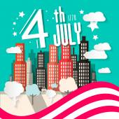 4 th July Retro Vector Illustration with American Flag and City on Background — Stock Vector