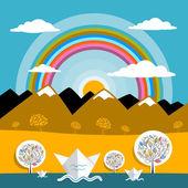 Montanhas Vector paisagem natureza montanhas de papel e ilustração de rio com sol e arco-íris — Vetor de Stock