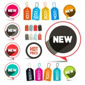 Business Vector Labels - Stickers with New Title and Discount Tags Set with Strings — Stock Vector