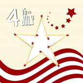 Independence Day - 4 th July Retro Vector Illustration with American Flag and Star — Stock Vector
