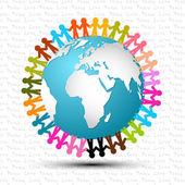 Liefde en vrede - mensen hand in hand rond de Globe vectorillustratie — Stockvector