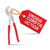 Podle konstrukce vektorové ilustrace s červeným štítkem na bílém pozadí a klíč — Stock vektor