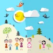 Family in Nature - Landscape Vector — Stock Vector #80037202