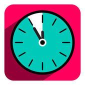 Flat Design Vector Retro Clock Icon with Five to Twelve Time — Stock Vector