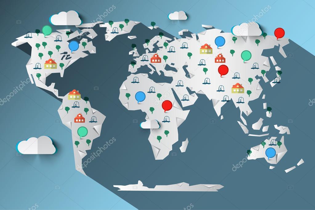 剪纸矢量世界地图与云-树-汽车-住房和圆标签图标