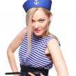 Beautiful young blond woman dressed as a sailor isolated on white background — Stock Photo #57888807