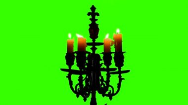 Candle in vintage candlestick on green screen — Stock Video