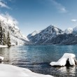 Idyllic cold lake at snow mountain landscape in winter scenery — Stock Photo #62620491