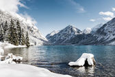Idyllic cold lake at snow mountain landscape in winter scenery — Stock Photo