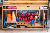Box of carpenter joiner tools as screwdriver fad plane water level — Stock Photo