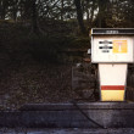 Old gasoline pump for diesel on concrete platform — Stock Photo #70655407