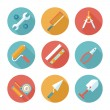 Trendy flat working tools icons. Vector illustration — Stock Vector #52328481