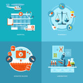 Vector medical and health icons set for web design, mobile apps. — Stock Vector