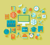 Set of flat education and school icons for design — Stock Vector