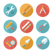 Trendy flat working tools icons. Vector illustration — Stock Vector